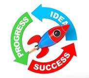Progress, Idea, Success Arrow Diagram with Rocket. 3d Rendering Stock Photo