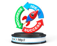 Progress, Idea, Success Arrow Diagram with Rocket over Browser A. Ddress Bar as Round Platform Pedestal on a white background. 3d Rendering Royalty Free Stock Photography