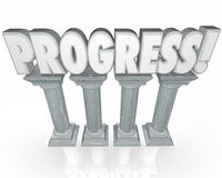 Progress Improvement Momentum Word on Columns Stock Photography