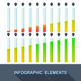 Progress, infographics, statistics with interest. In the flat style. Vector Stock Photo