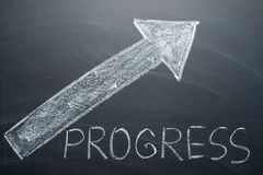 Progress inscription and an arrow up on the whiteboard. The concept of growth, increasing income, and progress royalty free stock image