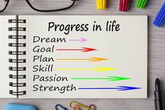 Progress in life written on notebook stock photography