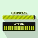 Progress loading bar icon, flat style. Progress loading bar icon in flat style on a light blue background vector illustration