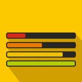 Progress loading bar icon, flat style. Progress loading bar icon in flat style on a yellow background Stock Photography