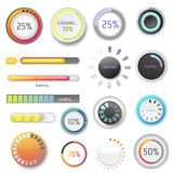 Progress loading bar indicators download progress ui-ux web design template interface file upload vector illustration. Progress loading bar indicators download Royalty Free Stock Photography