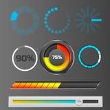 Progress loading bar indicators download progress ui-ux web interface design template file upload vector illustration. Progress loading bar indicators download Stock Photos