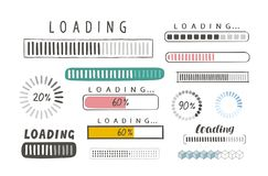 Progress loading bar, set of icons. Load symbol. Hand-drawn sketch vector. Isolated on white background stock illustration