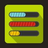 Progress loading bars icon, flat style. Progress loading bars icon in flat style on a green background Stock Image