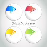 Progress options / one, two, three, four options with colored arrow Royalty Free Stock Photography