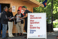 Progress Party campaign stand. A campaign stand belonging to the Norwegian conservative-liberal Progress Party (Norwegian: Fremskrittspartiet) during a local Stock Photo