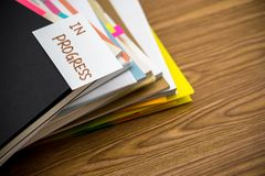 In Progress; The Pile of Business Documents on the Desk.  Royalty Free Stock Image