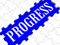 Progress Puzzle Shows Business Growth Stock Photos