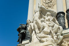 The Progress Sculpture, Park of the Pleasant Retreat Pond, Madrid. The Progress, sculpture group - Monument of Alfonso XII Detail, Pond of the Park of the Royalty Free Stock Image