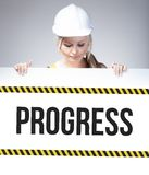 Progress sign on information poster, worker woman Royalty Free Stock Images