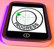Progress Smartphone Shows Advancement Improvement And Goals Stock Image