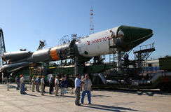 Progress Spacecraft at Baikonur Launch Pad. Russian Progress spacecraft has just arrived at the launch pad at Baikonur cosmodrome on the 28th of June, 2010, to royalty free stock photos