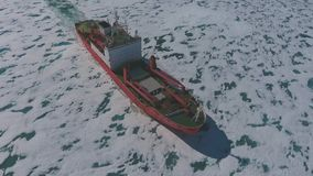 Cargo ship arrives in port for unloading on an ice floe. stock video footage