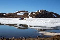 Specialized equipment for movement on the surface of Antarctica. Cross-country vehicles, stand on the ground or move in the sky. Progress station, Antarctica stock photography