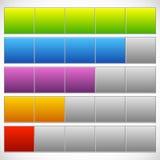 Progress, step, phase indicators. Simple 5-step progress bars. Royalty free vector illustration Stock Photography