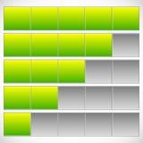 Progress, step, phase indicators. Simple 5-step progress bars. Royalty free vector illustration Stock Photos