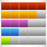 Progress, step, phase indicators. Simple 5-step progress bars. Royalty free vector illustration Stock Images