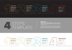 Progress steps template. One two three four - vector progress template for four steps or options - dark and light version Royalty Free Stock Photography
