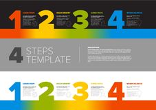 Progress steps template. One two three four - vector progress template for four steps or options - dark and light version Stock Image