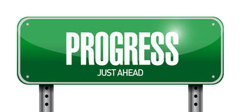 Progress street sign illustration design. Over a white background Royalty Free Stock Photo