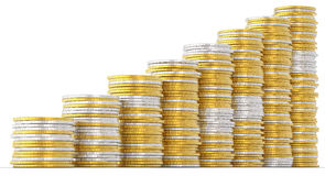 Progress and success: golden and silver coins Stock Photo
