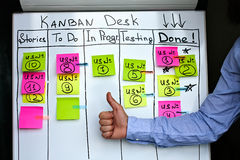 Progress and success on Kanban board. Stock Photo