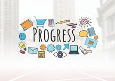 Progress text with drawings graphics Royalty Free Stock Photography