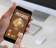 PROGRESS up Business Performance Branding Strategy , Good Progr. Ess , Personal development, career growth, success, Personal development, personal and career Royalty Free Stock Photo