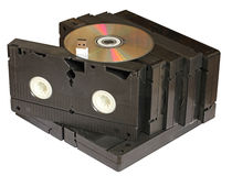Progress. Videotape with dvd and flash memory Royalty Free Stock Image
