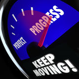 Progress Vs Perfection Measurement Gauge Keep Moving Royalty Free Stock Images