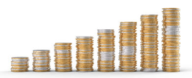 Progress and wealth: golden and silver coins. Stacks over white Stock Photo