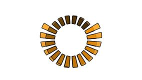 Progress wheel - increasing size and color, 2 spinning wheels overlapping, seamless looping Stock Photos