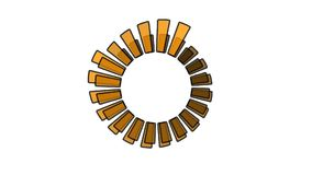 Progress wheel - increasing size and color, 2 spinning wheels overlapping, seamless looping Royalty Free Stock Images