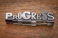Progress word in  metal type Stock Image