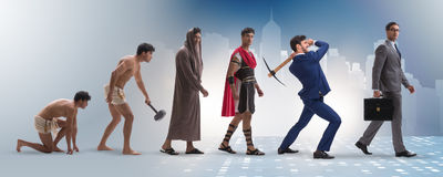 The progression of man mankind from ancient to modern Stock Photography