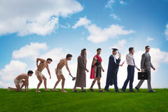 The progression of man mankind from ancient to modern Royalty Free Stock Photos