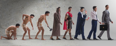 The progression of man mankind from ancient to modern Royalty Free Stock Photography