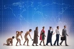 The progression of man mankind from ancient to modern Royalty Free Stock Photo