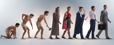 The progression of man mankind from ancient to modern Royalty Free Stock Images