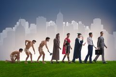 The progression of man mankind from ancient to modern Royalty Free Stock Image