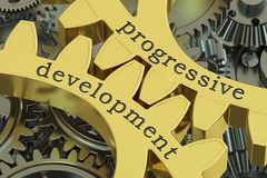Progressive development concept on the gearwheels, 3D rendering Stock Photos