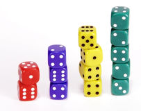 Progressive Dice Stacks. Stacks of dice form vertical bars of red, blue, yellow and green cubes, increasing in height Stock Images
