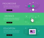Progressive Distance Education. Vector banners template set. Flat design electronic education banners template set. Education concept for web and app design Stock Images