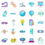 Progressive icons set, cartoon style Royalty Free Stock Images