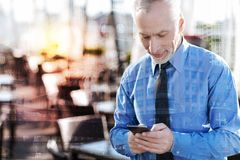 Progressive mature man standing alone and sending messages. Quick messages. Calm concentrated mature businessman standing alone in a nice cafe and feeling Royalty Free Stock Photo