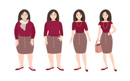 Progressive steps of young female cartoon character s body changing. Concept of weight loss through fitness workouts and. Proper nutrition. Vector illustration Royalty Free Stock Images